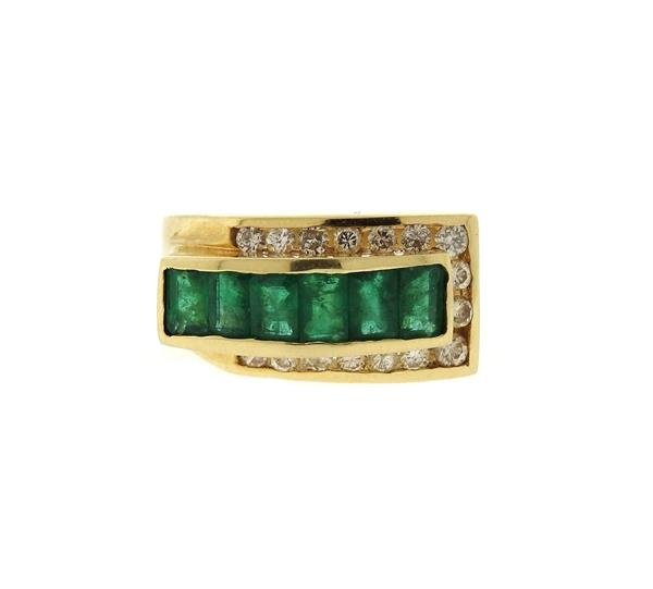 14k Gold Diamond Emerald Ring
