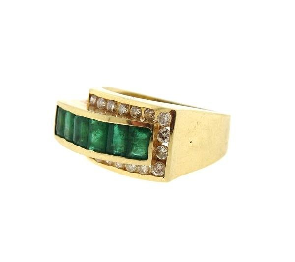 14k Gold Diamond Emerald Ring - 2