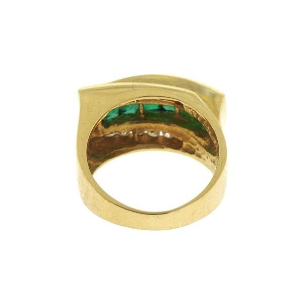14k Gold Diamond Emerald Ring - 3