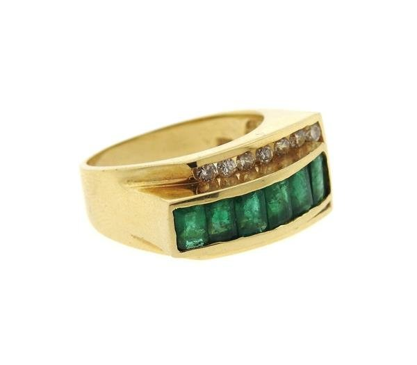 14k Gold Diamond Emerald Ring - 4