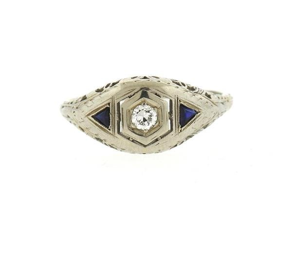 Art Deco 18k Gold Diamond Sapphire Engagement Ring