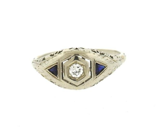 Art Deco 18k Gold Diamond Sapphire Engagement Ring - 2