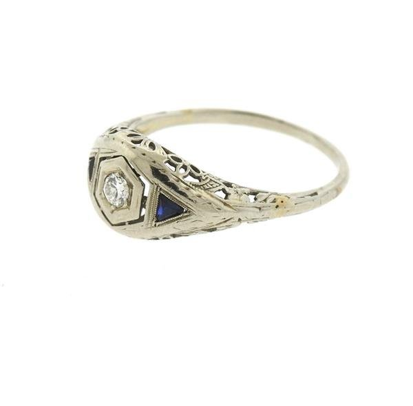 Art Deco 18k Gold Diamond Sapphire Engagement Ring - 3