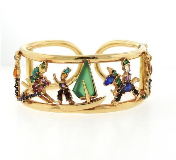 Retro 14k Gold Multi Gemstone Bracelet
