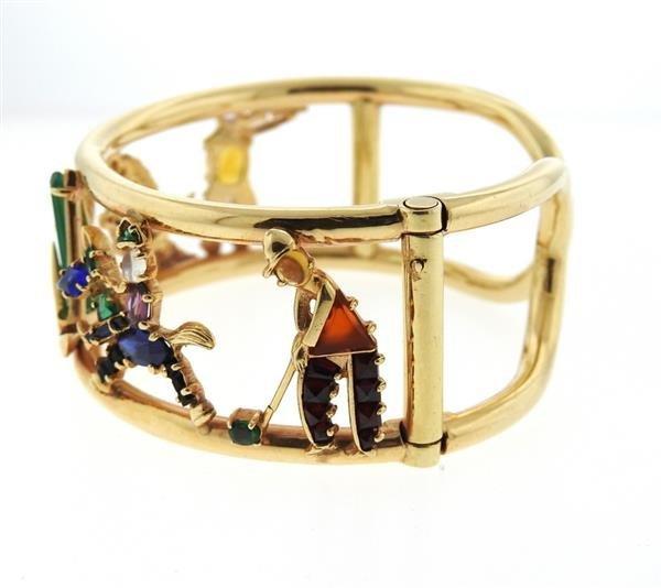 Retro 14k Gold Multi Gemstone Bracelet - 2
