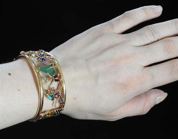 Retro 14k Gold Multi Gemstone Bracelet - 4