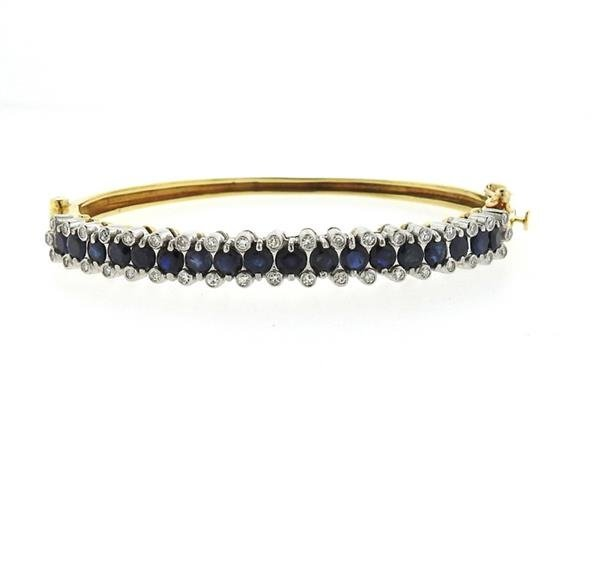 18k Gold Diamond Sapphire Bangle Bracelet