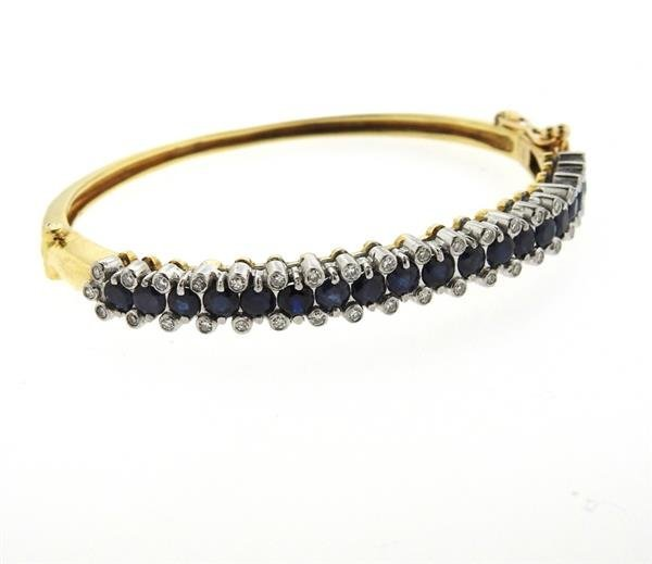 18k Gold Diamond Sapphire Bangle Bracelet - 2