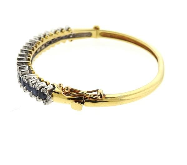 18k Gold Diamond Sapphire Bangle Bracelet - 3