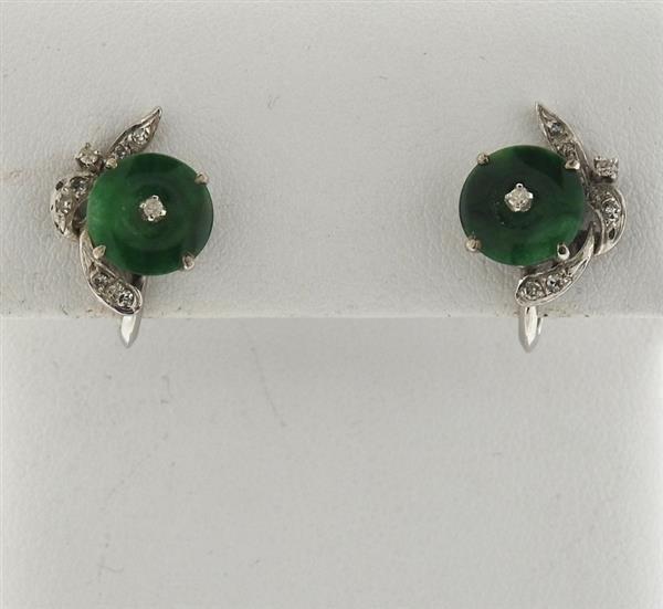 14k Gold Jade Diamond Earrings