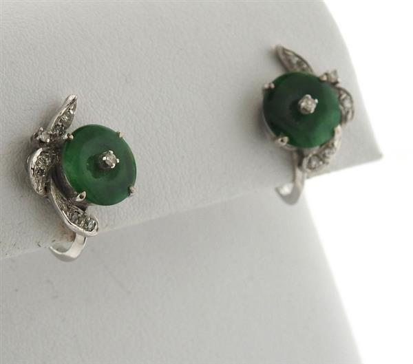 14k Gold Jade Diamond Earrings - 2