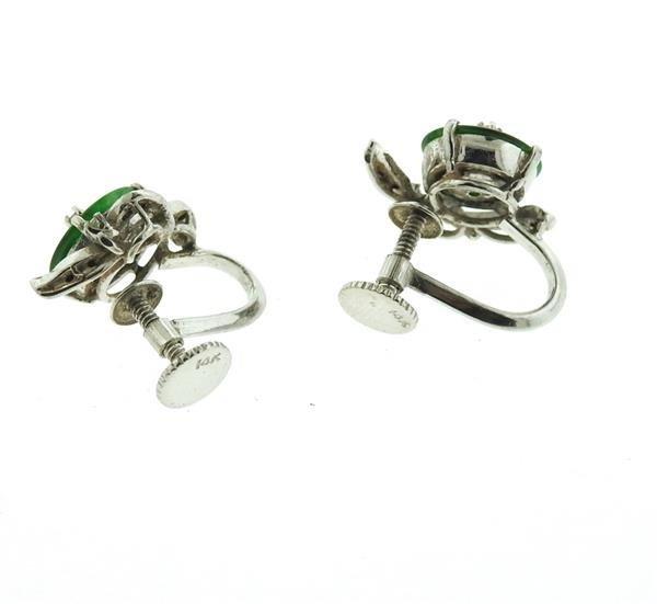 14k Gold Jade Diamond Earrings - 3