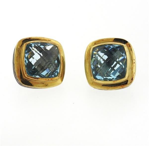 David Yurman Albion Sterling 18k Gold Topaz Earrings