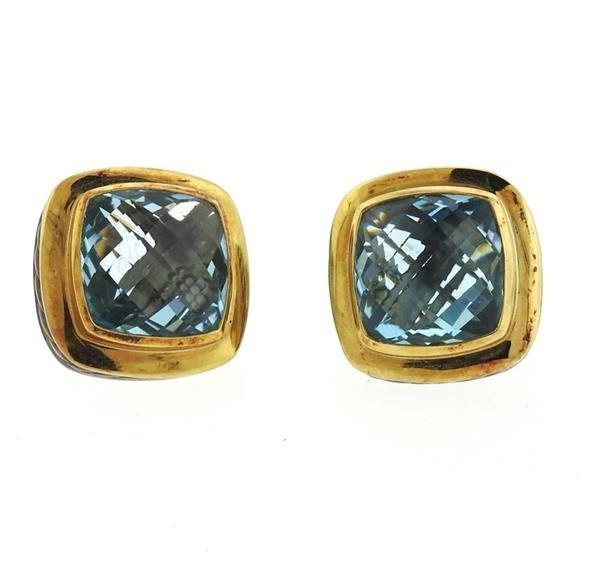David Yurman Albion Sterling 18k Gold Topaz Earrings - 2