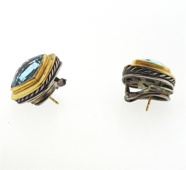 David Yurman Albion Sterling 18k Gold Topaz Earrings - 3