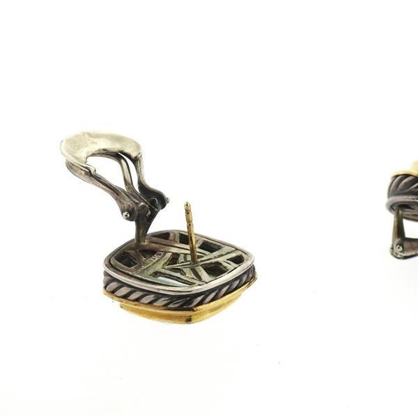 David Yurman Albion Sterling 18k Gold Topaz Earrings - 4