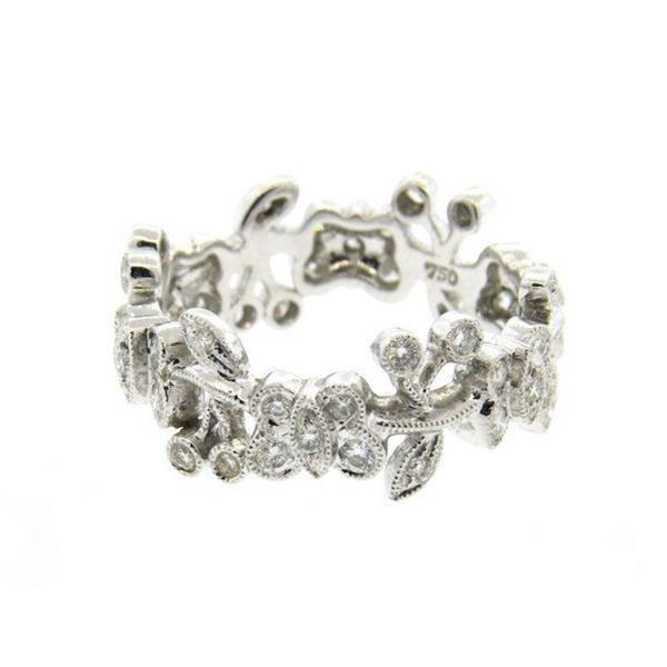 18k Gold Diamond Butterfly Motif Band Ring - 2