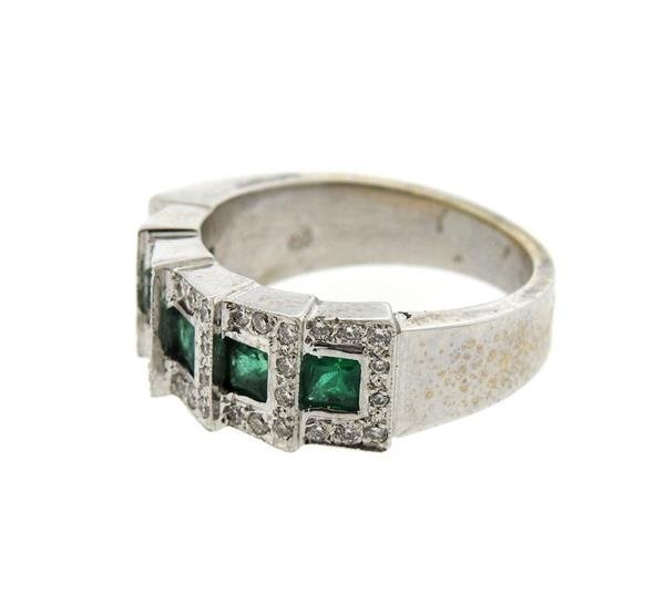 18K Gold Diamond Emerald Band Ring - 2