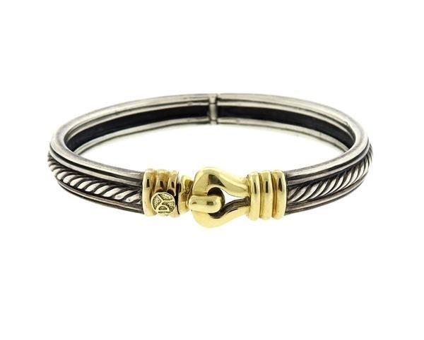 David Yurman Sterling 14k Gold Buckle Bracelet