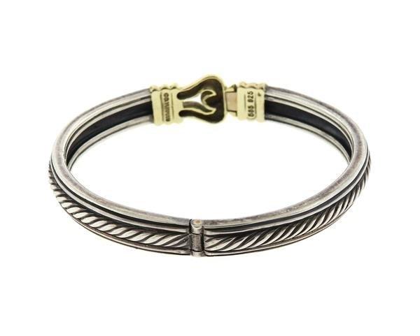 David Yurman Sterling 14k Gold Buckle Bracelet - 2