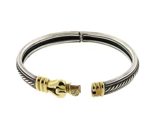 David Yurman Sterling 14k Gold Buckle Bracelet - 4