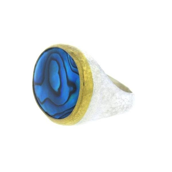 Gurhan 24K Gold Sterling Silver Paua Shell Dome Ring - 2