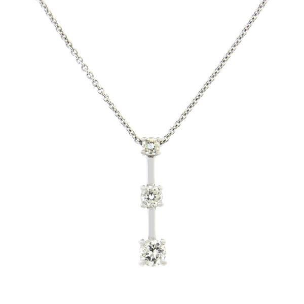 Italian 14K Gold Three Stone Diamond Pendant Necklace