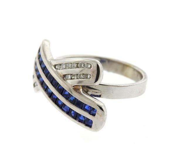 14K Gold Diamond Sapphire X Ring - 2