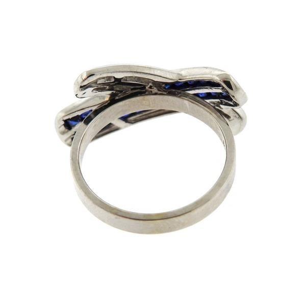 14K Gold Diamond Sapphire X Ring - 3