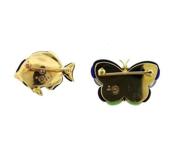 Asch Grossbardt 14K Gold Diamond Gemstone Brooch Lot of - 2