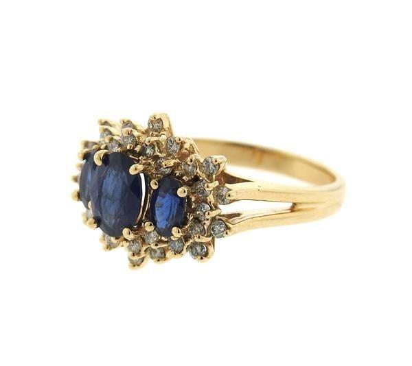 14K Gold Diamond Sapphire Cluster Ring - 2