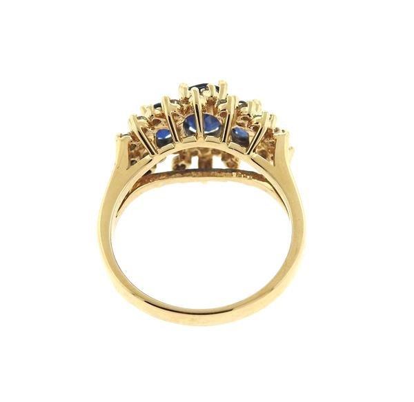 14K Gold Diamond Sapphire Cluster Ring - 3
