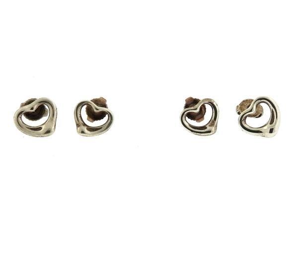 Tiffany & Co Open Heart Earrings Lot of 2 Pairs