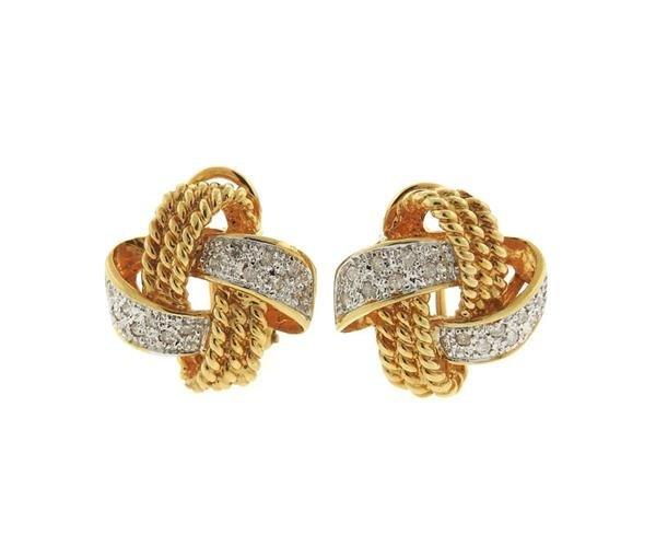 14K Gold Diamond Knot Earrings