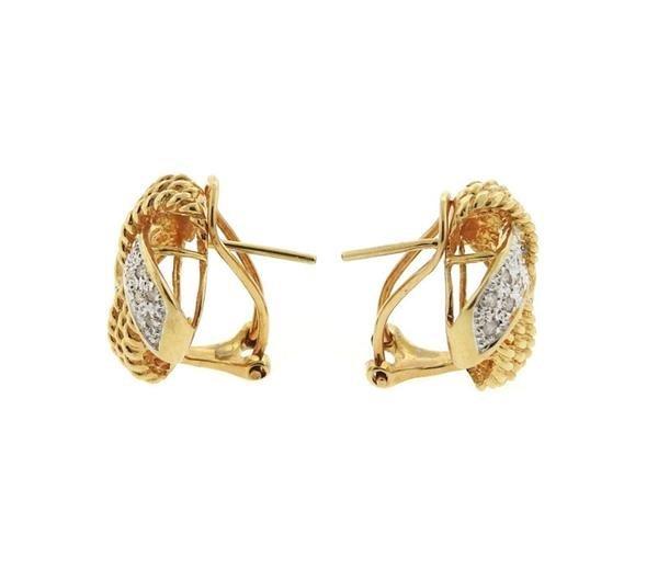 14K Gold Diamond Knot Earrings - 2