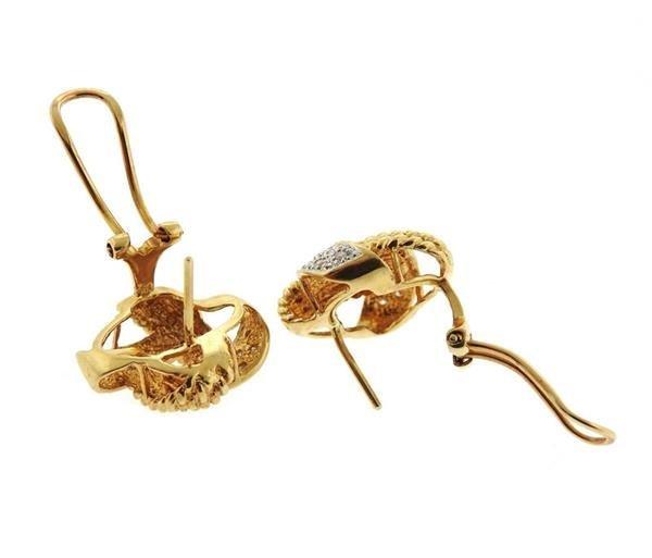14K Gold Diamond Knot Earrings - 4