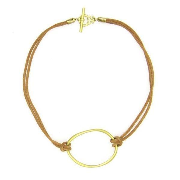 Slane & Slane 18k Yellow Gold Twin Link Leather