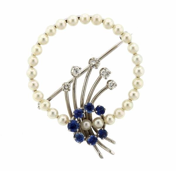 1950s 14K White Gold Diamond Sapphire Pearl Brooch