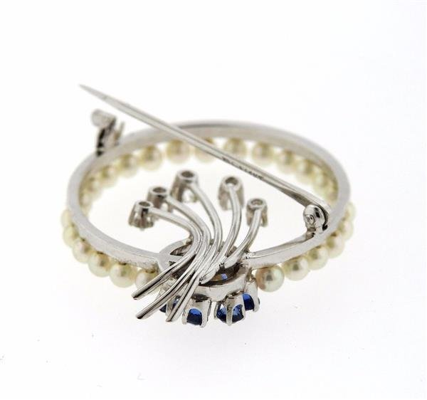 1950s 14K White Gold Diamond Sapphire Pearl Brooch - 3