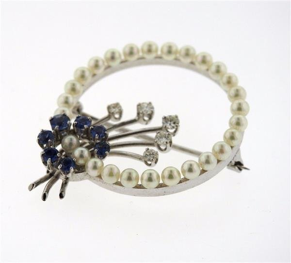 1950s 14K White Gold Diamond Sapphire Pearl Brooch - 4