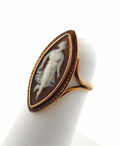 Antique 14K Gold Hardstone Cameo Ring - 2