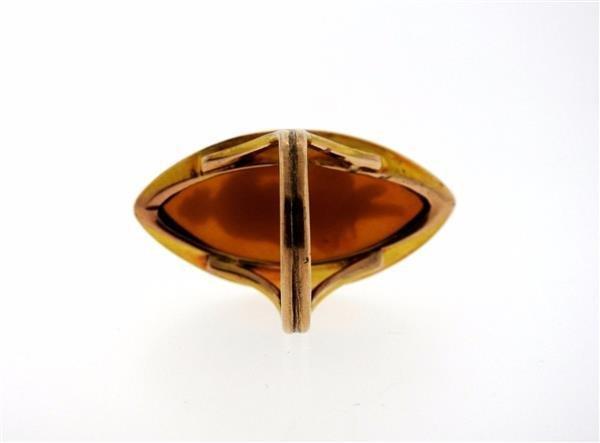 Antique 14K Gold Hardstone Cameo Ring - 3