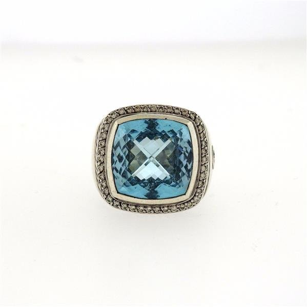 David Yurman Albion Sterling Silver Blue Topaz Diamond