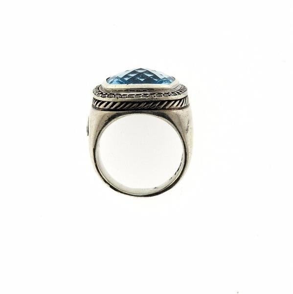 David Yurman Albion Sterling Silver Blue Topaz Diamond - 4
