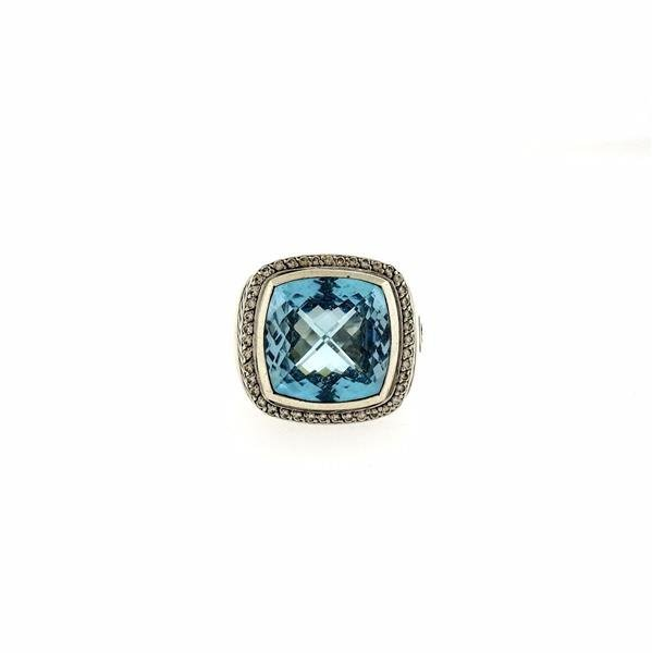 David Yurman Albion Sterling Silver Blue Topaz Diamond - 6