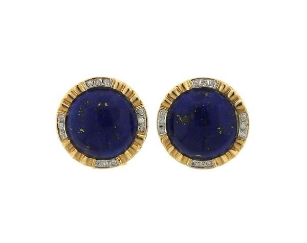 14K Gold Lapis Diamond Round Earrings