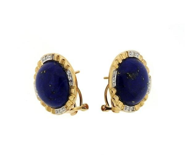 14K Gold Lapis Diamond Round Earrings - 2