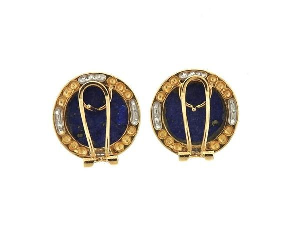 14K Gold Lapis Diamond Round Earrings - 3