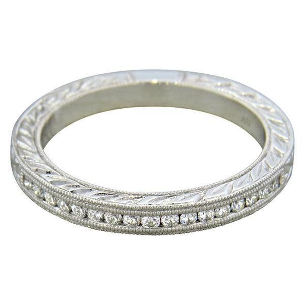 14K Gold Diamond Half Band Wedding Ring - 2