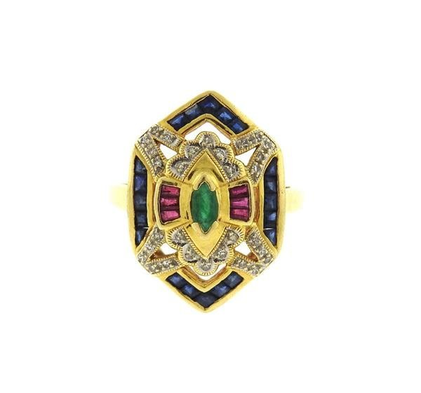 18K Gold Diamond Multi Gemstones Geometric  Ring